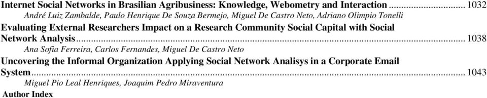 Researchers Impact on a Research Community Social Capital with Social Network Analysis.