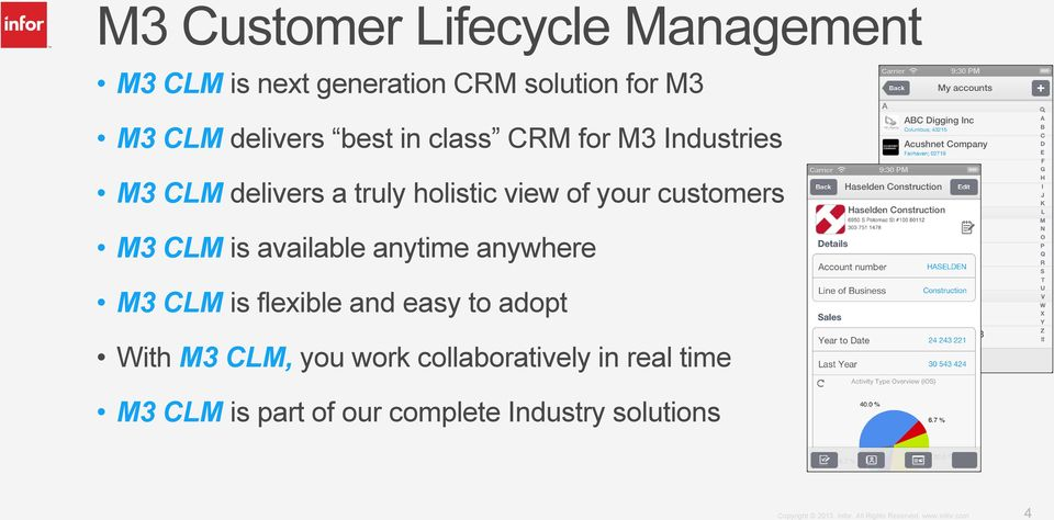 customers M3 CLM is available anytime anywhere M3 CLM is flexible and easy to adopt With