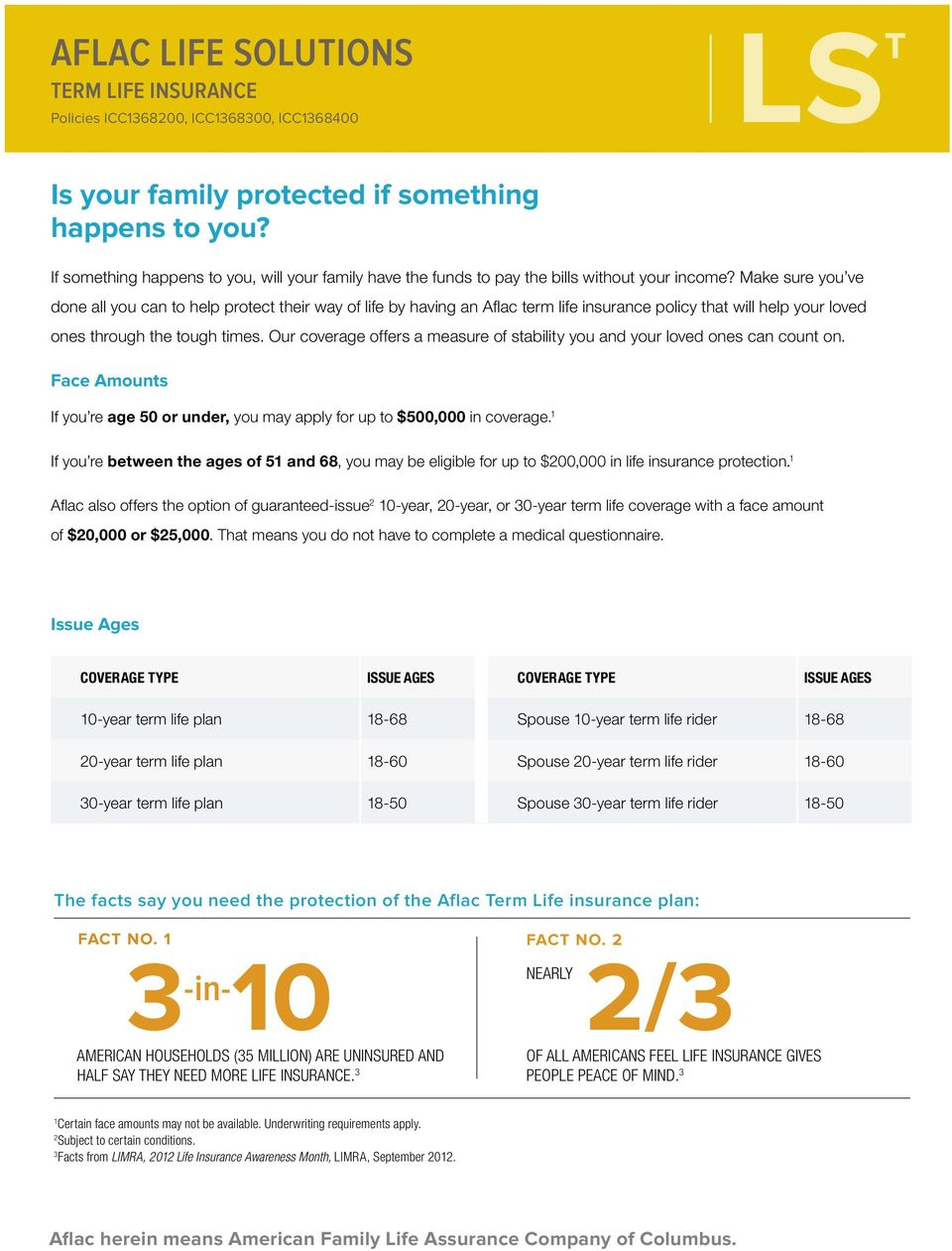 Make sure you ve done all you can to help protect their way of life by having an Aflac term life insurance policy that will help your loved ones through the tough times.