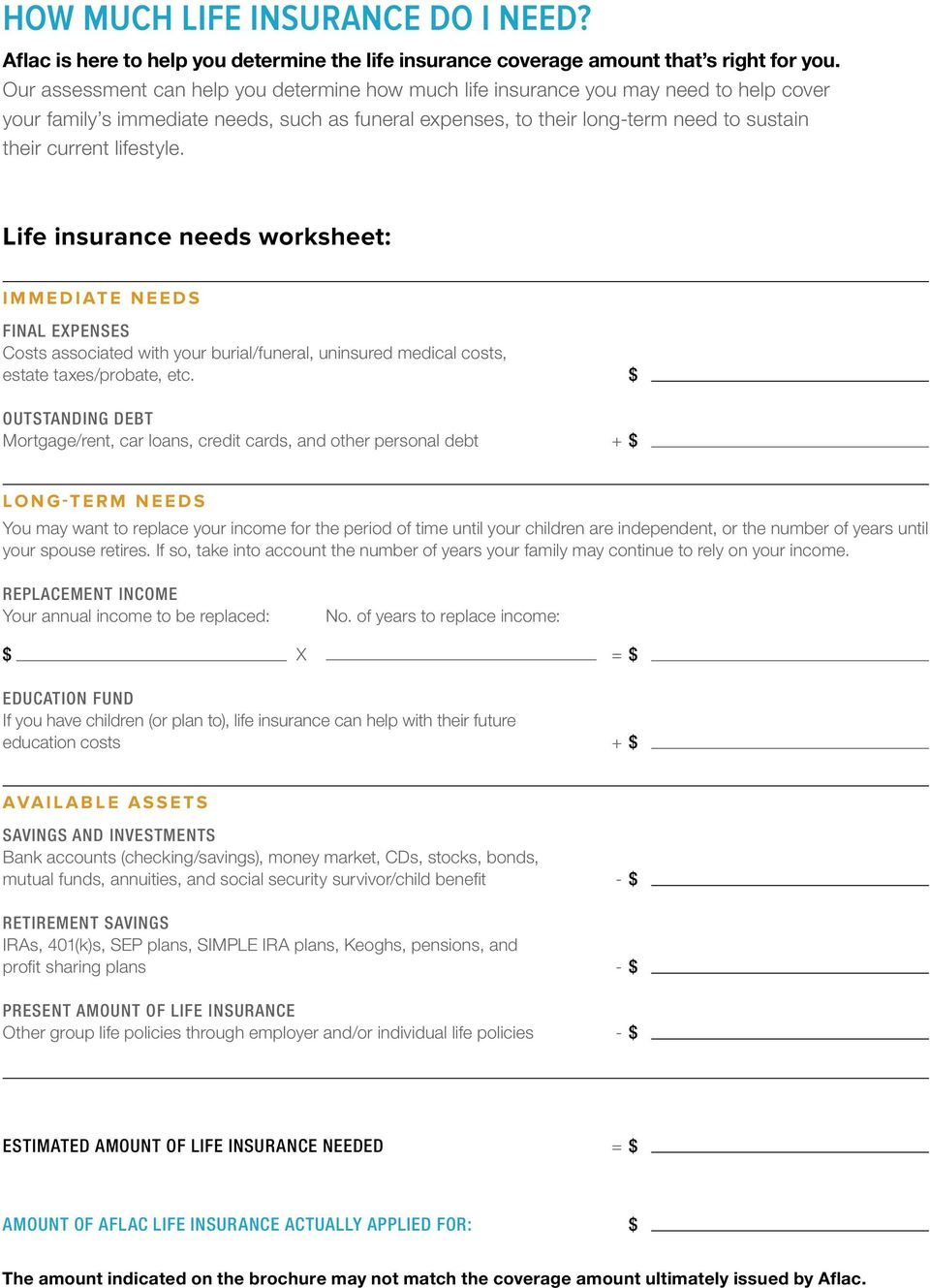 lifestyle. Life insurance needs worksheet: IMMEDIATE NEEDS FINAL EXPENSES Costs associated with your burial/funeral, uninsured medical costs, estate taxes/probate, etc.
