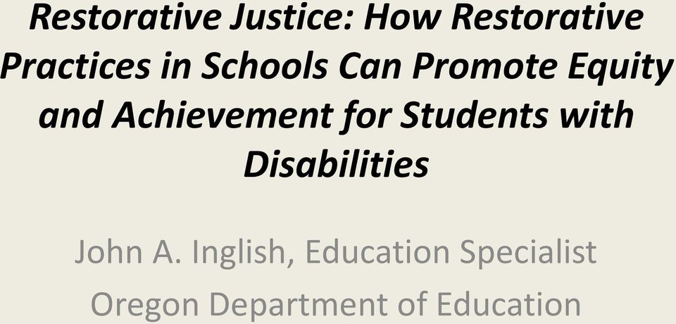 for Students with Disabilities John A.