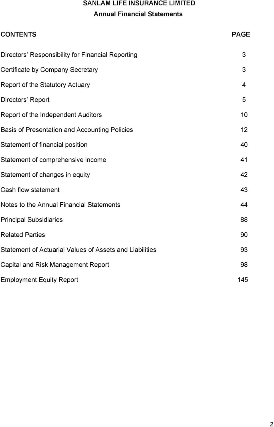 financial position 40 Statement of comprehensive income 41 Statement of changes in equity 42 Cash flow statement 43 Notes to the Annual Financial Statements 44