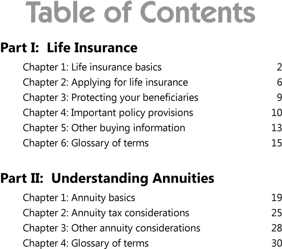 Other buying information 13 Chapter 6: Glossary of terms 15 Part II: Understanding Annuities Chapter 1: Annuity