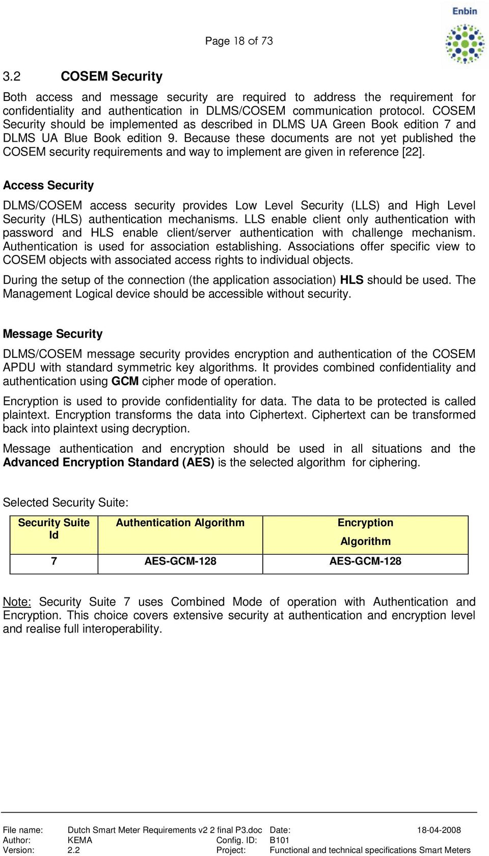 Because these documents are not yet published the COSEM security requirements and way to implement are given in reference [22].