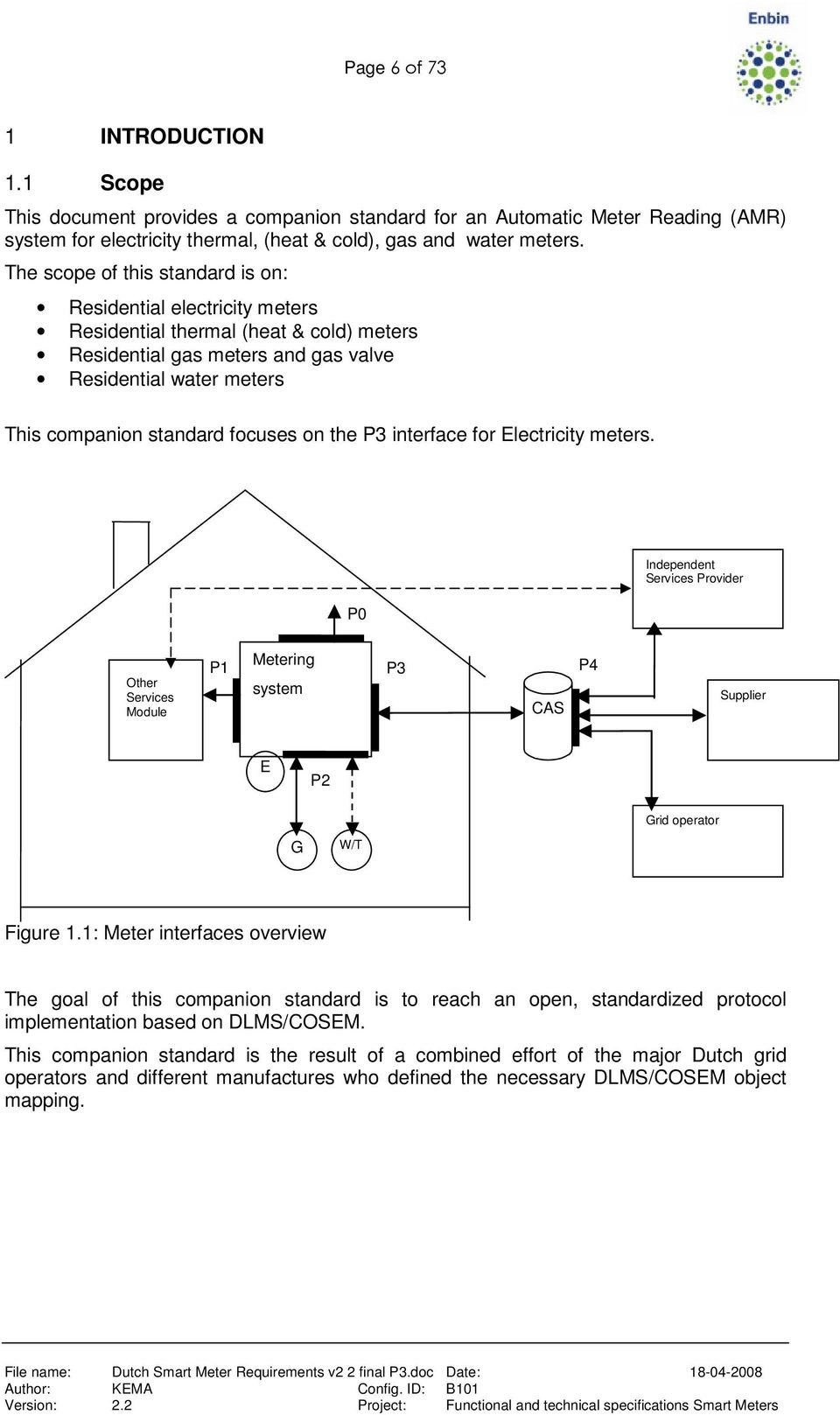on the P3 interface for Electricity meters. P0 Independent Services Provider Other Services Module P1 Metering system P3 CAS P4 Supplier E P2 G W/T Grid operator Figure 1.