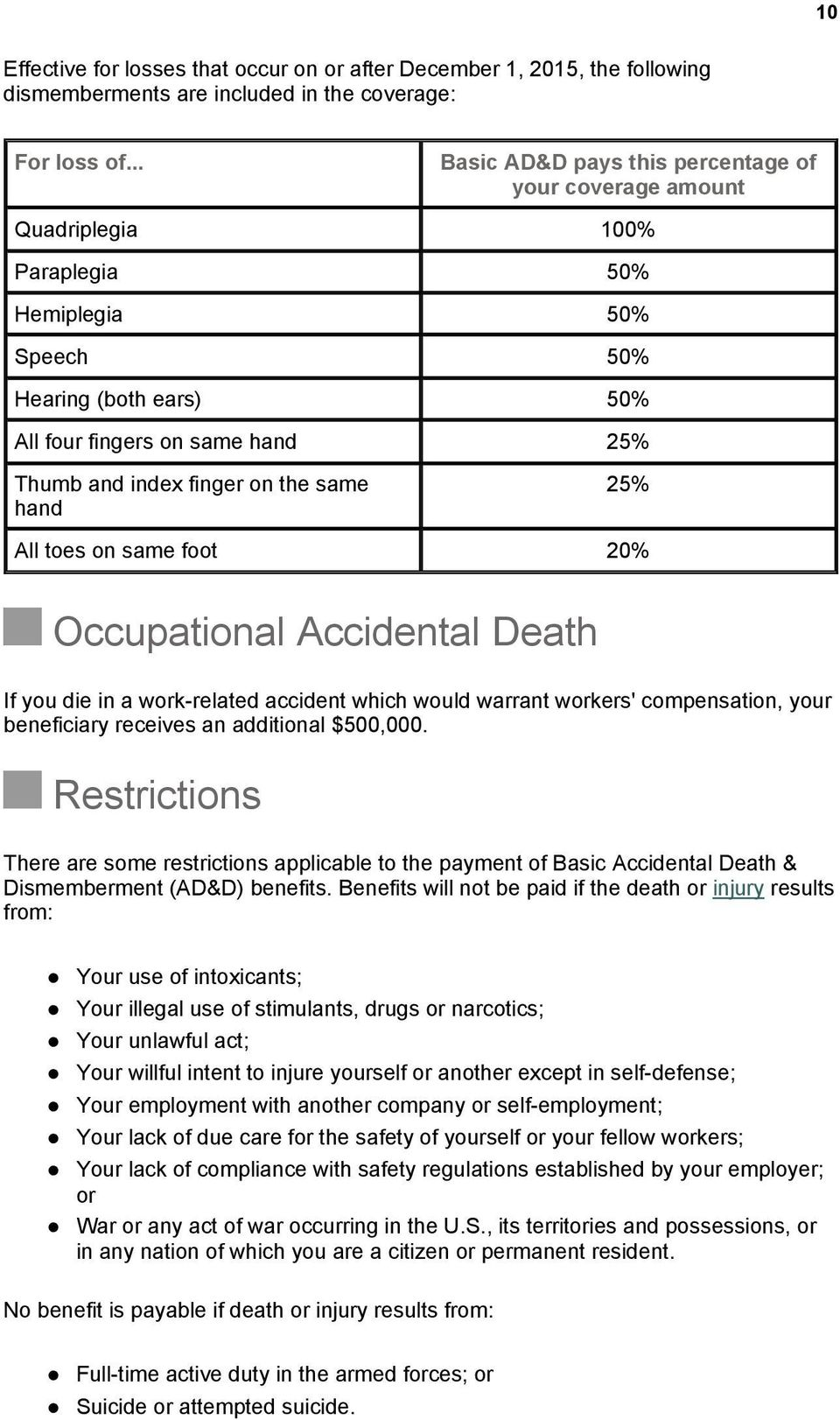 on the same hand 25% All toes on same foot 20% Occupational Accidental Death If you die in a work-related accident which would warrant workers' compensation, your beneficiary receives an additional