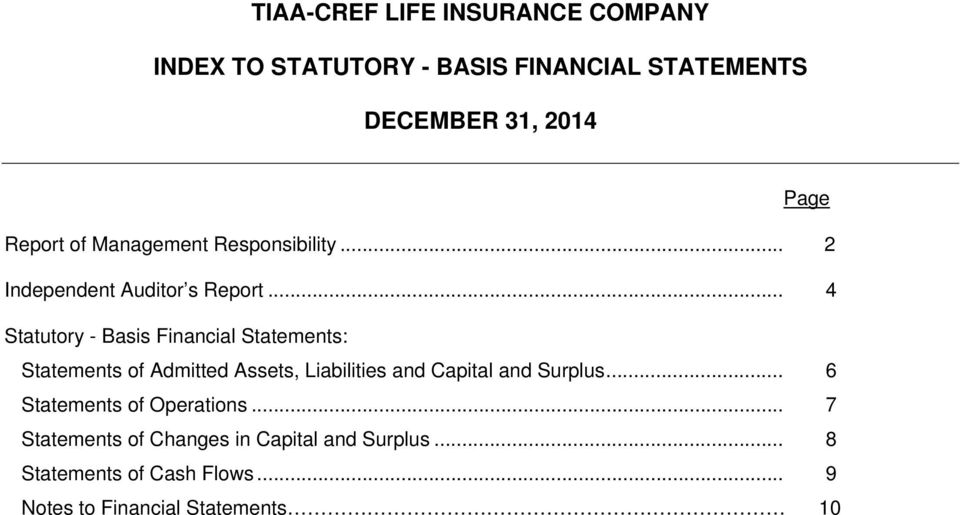 .. 4 Statutory - Basis Financial Statements: Statements of Admitted Assets, Liabilities and