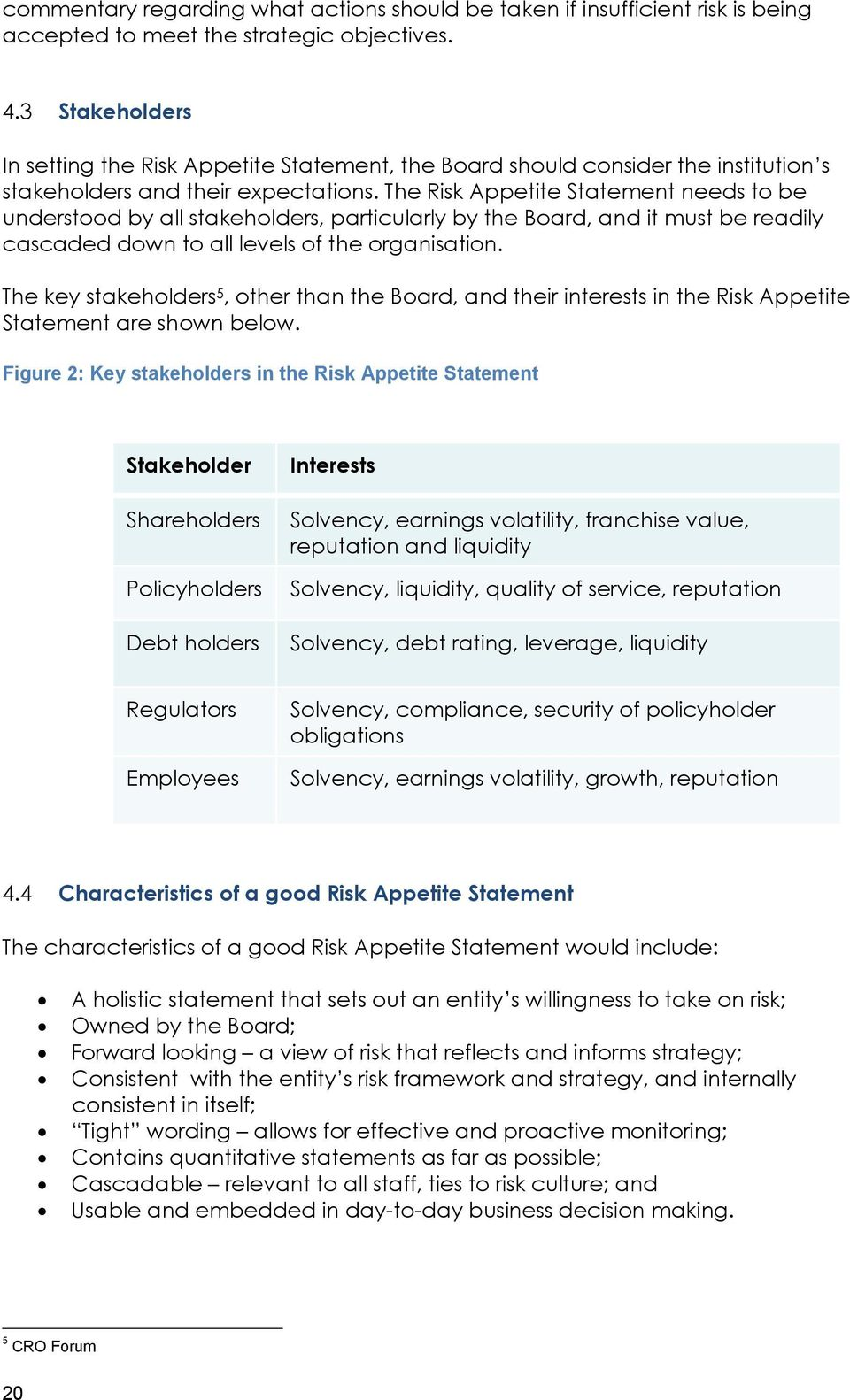 The Risk Appetite Statement needs to be understood by all stakeholders, particularly by the Board, and it must be readily cascaded down to all levels of the organisation.