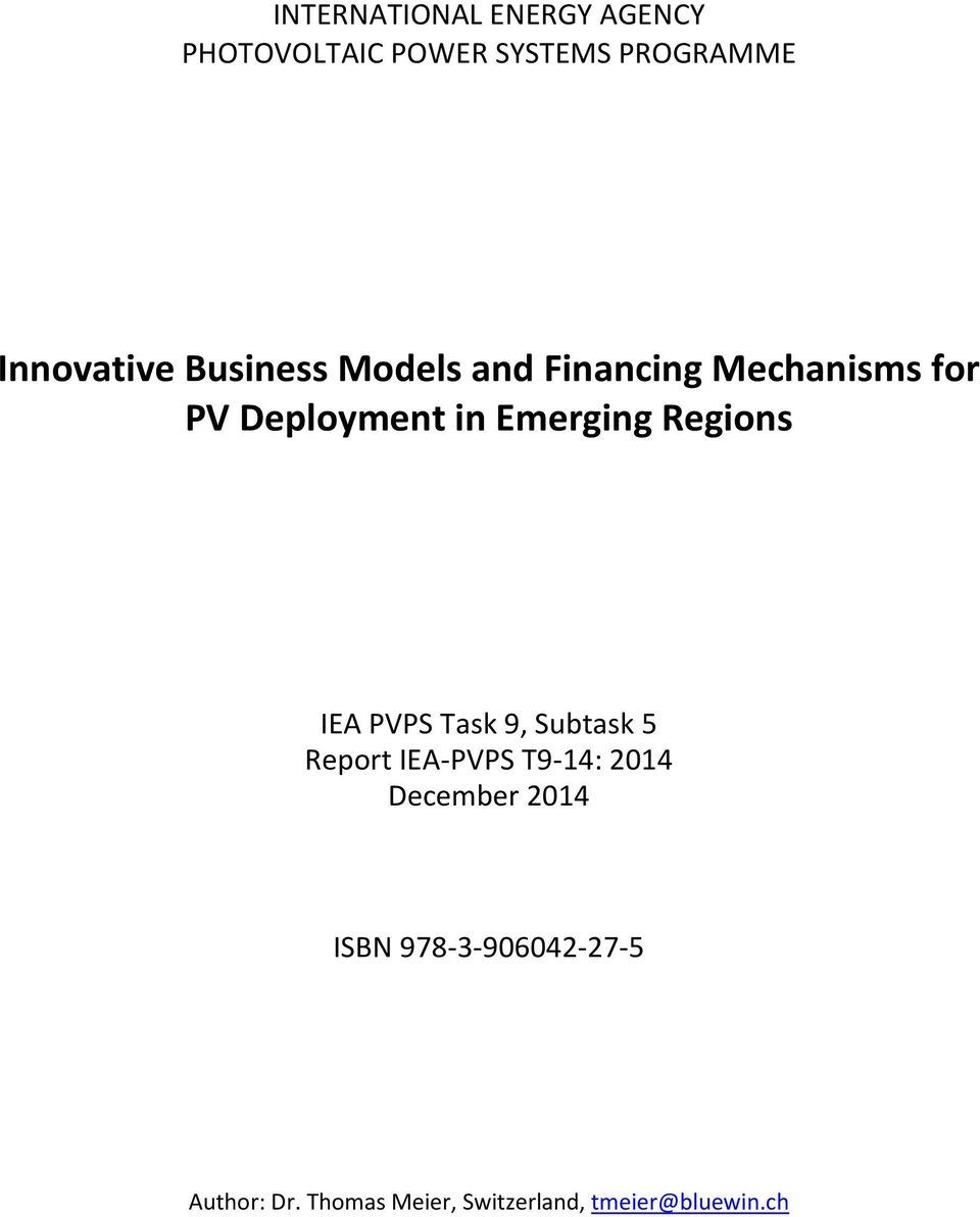 Regions IEA PVPS Task 9, Subtask 5 Report IEA-PVPS T9-14: 2014 December