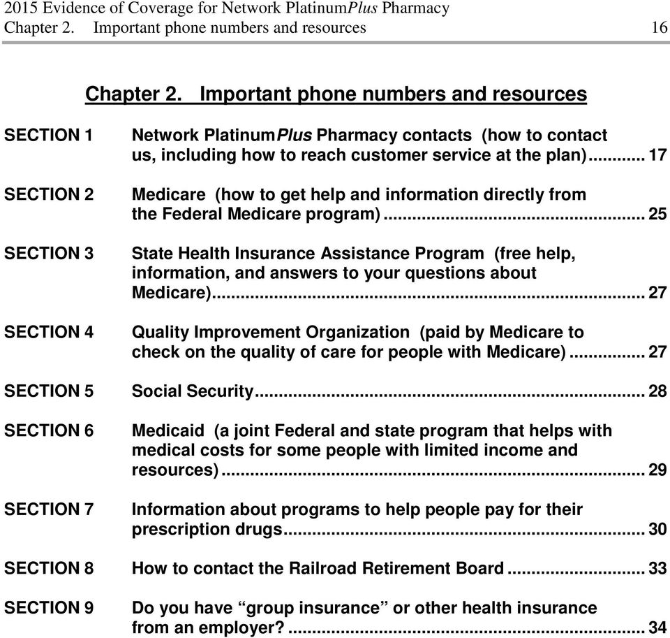 how to reach customer service at the plan)... 17 Medicare (how to get help and information directly from the Federal Medicare program).