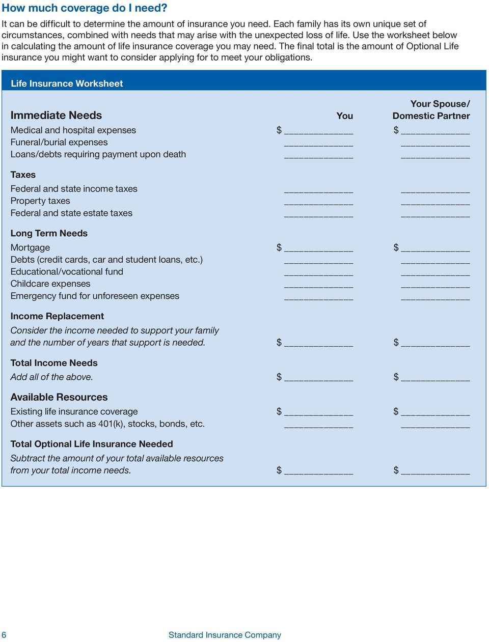 Use the worksheet below in calculating the amount of life insurance coverage you may need.