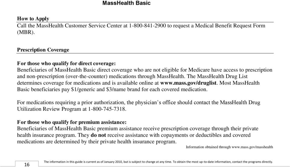 (over-the-counter) medications through MassHealth. The MassHealth Drug List determines coverage for medications and is available online at www.mass.gov/druglist.