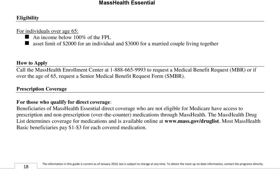 Prescription Coverage For those who qualify for direct coverage: Beneficiaries of MassHealth Essential direct coverage who are not eligible for Medicare have access to prescription and