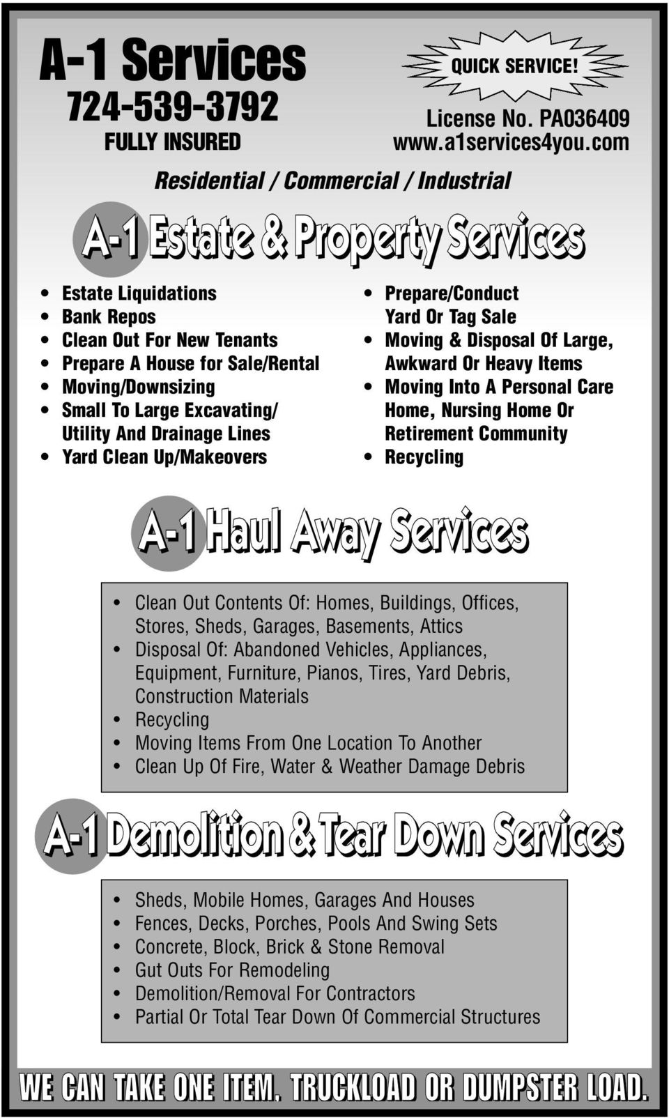 com Residential / Commercial / Industrial Prepare/Conduct Yard Or Tag Sale Moving & Disposal Of Large, Awkward Or Heavy Items Moving Into A Personal Care Home, Nursing Home Or Retirement Community