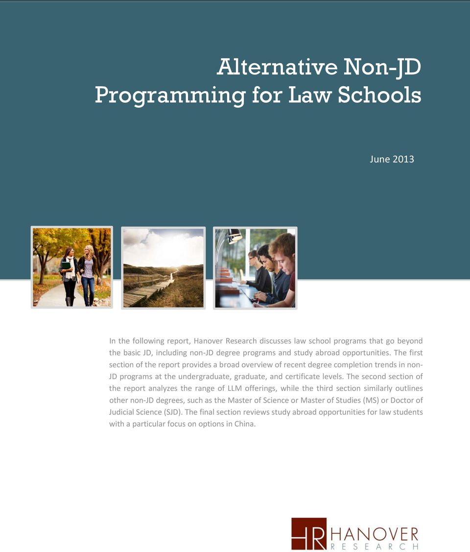 The first section of the report provides a broad overview of recent degree completion trends in non JD programs at the undergraduate, graduate, and certificate levels.