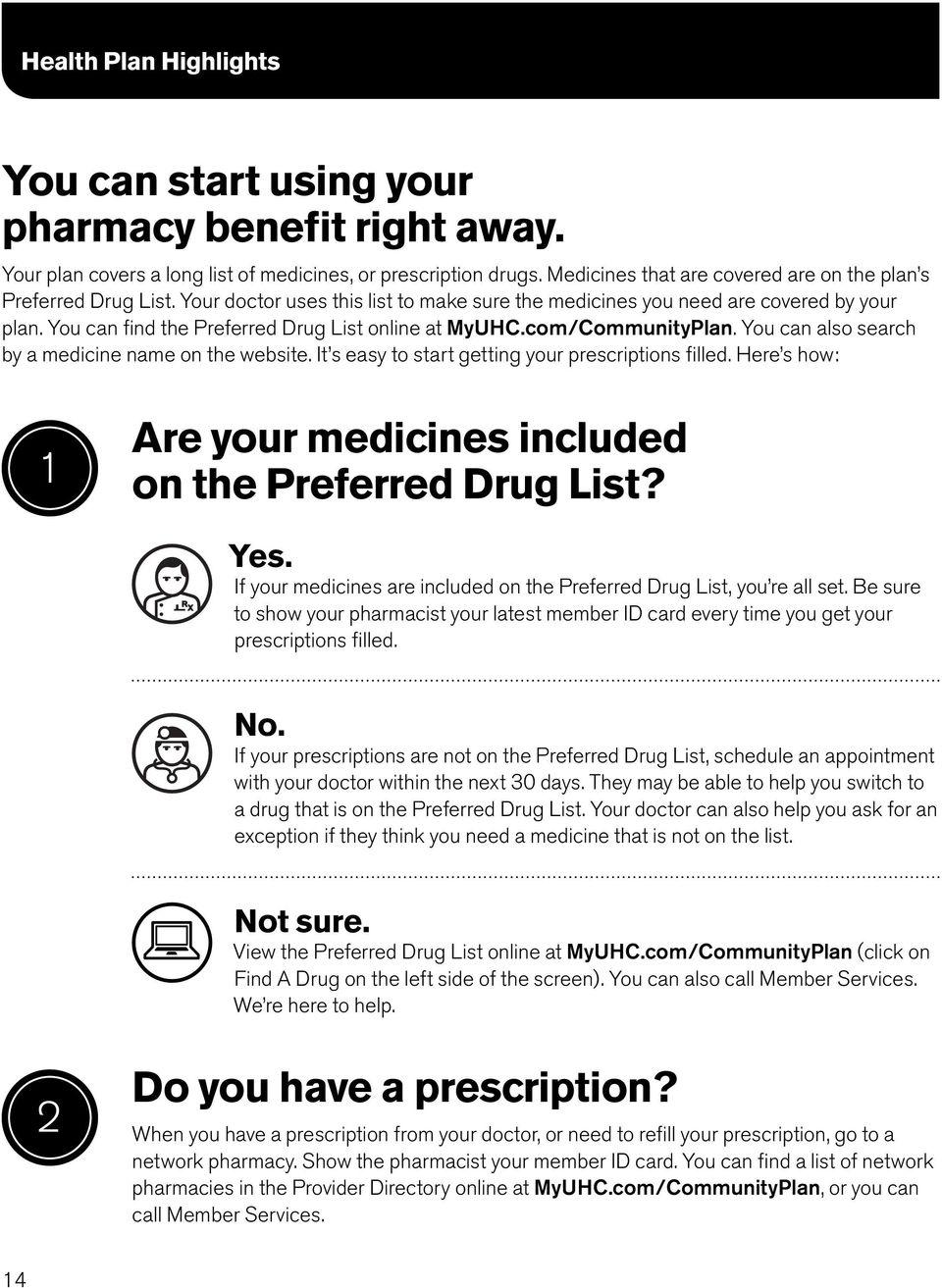 You can find the Preferred Drug List online at MyUHC.com/CommunityPlan. You can also search by a medicine name on the website. It s easy to start getting your prescriptions filled.