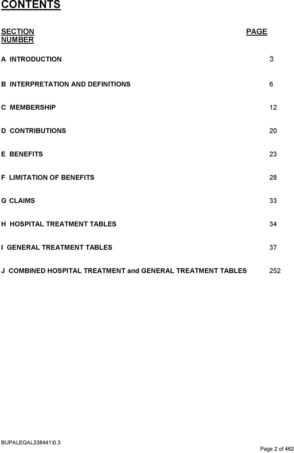 CLAIMS 33 H HOSPITAL TREATMENT TABLES 34 I GENERAL TREATMENT TABLES 37 J COMBINED
