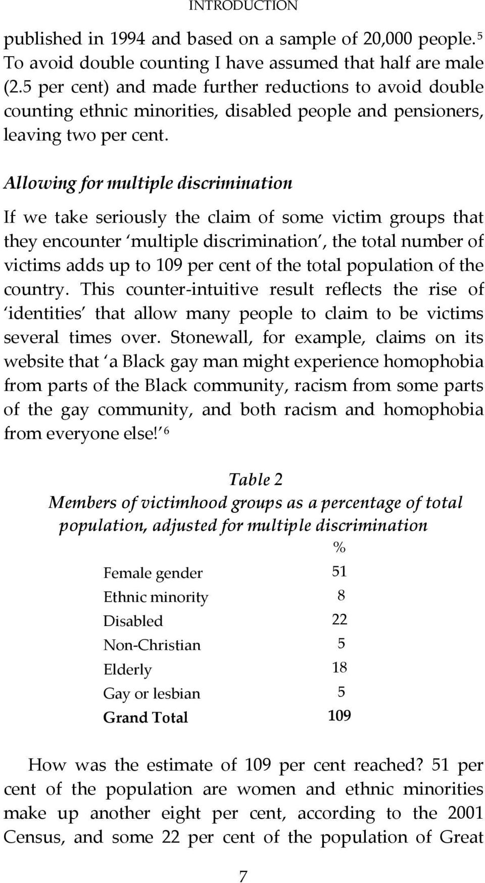 Allowing for multiple discrimination If we take seriously the claim of some victim groups that they encounter multiple discrimination, the total number of victims adds up to 109 per cent of the total