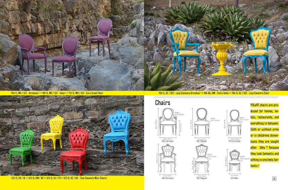 With or without arms or in childrens dimen- 24 in / 60 cm 760-C Armchair 21 in / 53 cm 760-D Regular 17 in / 43 cm 772-D Euro Sized sions they are sought after. Why?