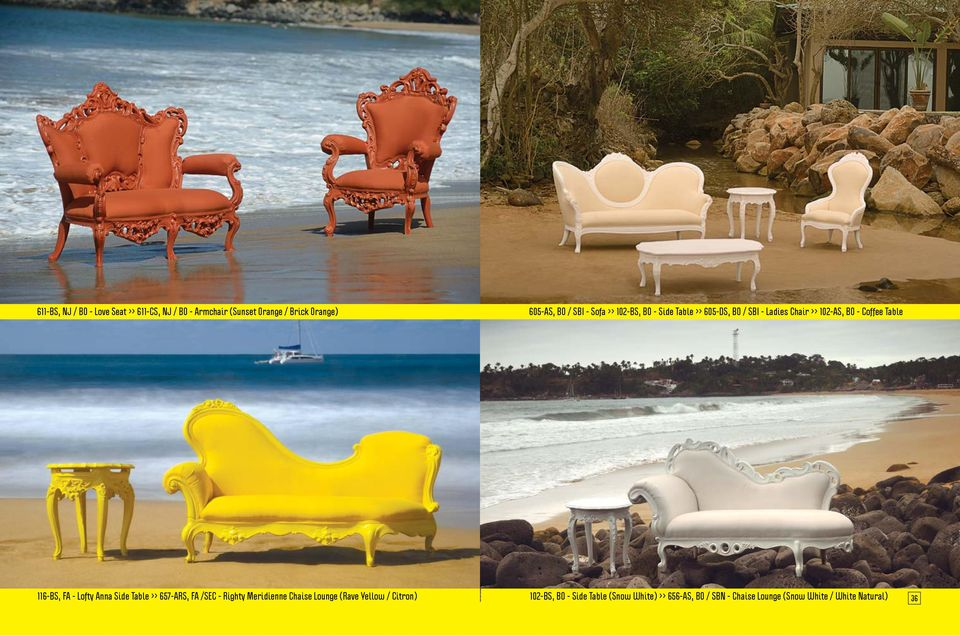 116-BS, FA - Lofty Anna Side Table >> 657-ARS, FA /SEC - Righty Meridienne Chaise Lounge (Rave Yellow /