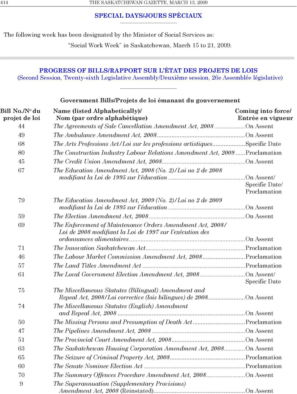 progress of bills/rapport sur l état des projets de lois (Second Session, Twenty-sixth Legislative Assembly/Deuxième session, 26e Assemblée législative) Government Bills/Projets de loi émanant du