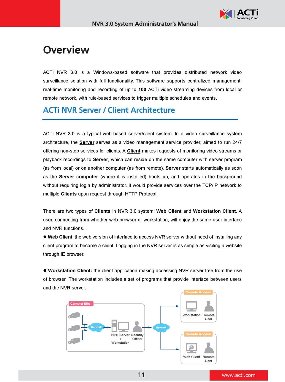 schedules and events. ACTi NVR Server / Client Architecture ACTi NVR 3.0 is a typical web-based server/client system.