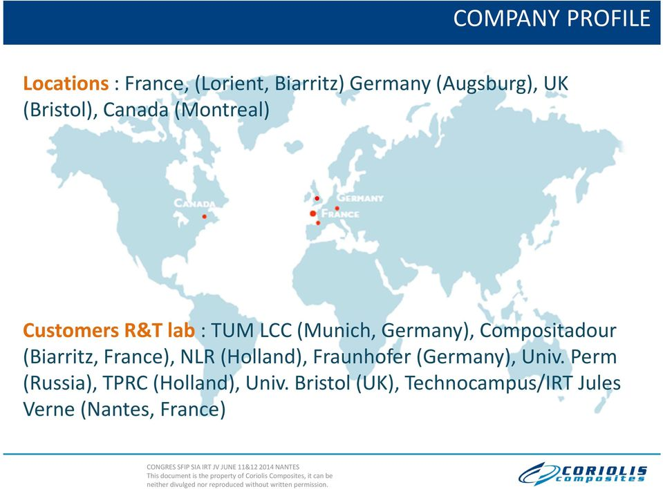 (Munich, Germany), Compositadour (Biarritz, France), NLR (Holland), Fraunhofer(Germany),