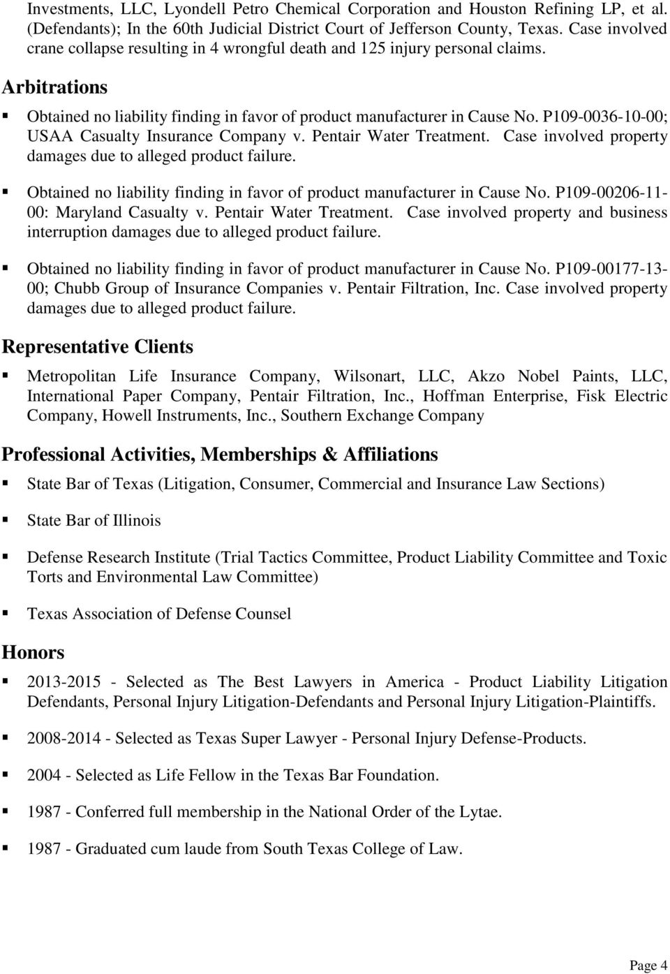 P109-0036-10-00; USAA Casualty Insurance Company v. Pentair Water Treatment. Case involved property damages due to alleged product failure.
