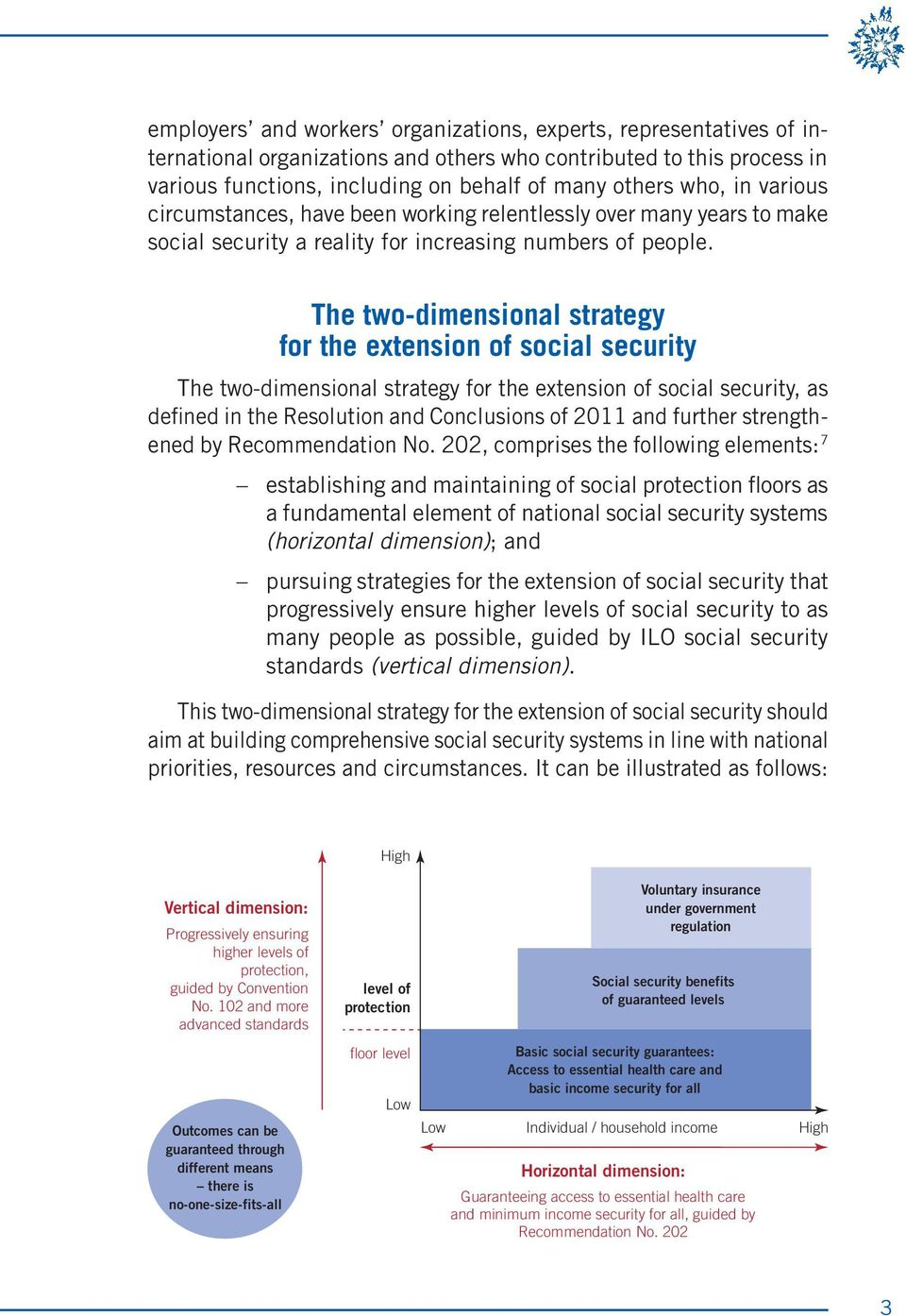 The two-dimensional strategy for the extension of social security The two-dimensional strategy for the extension of social security, as defined in the Resolution and Conclusions of 2011 and further