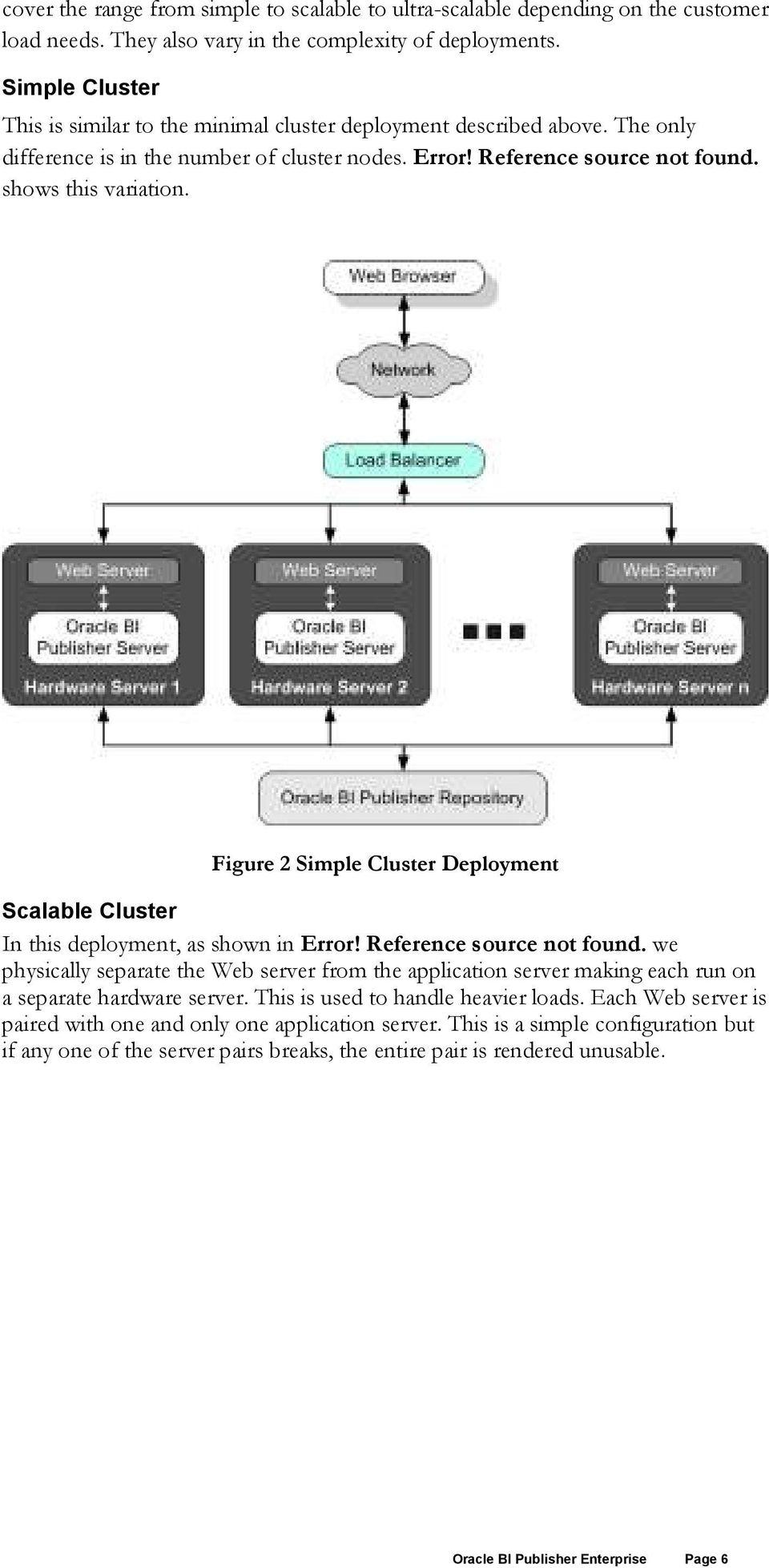 Figure 2 Simple Cluster Deployment Scalable Cluster J2EE Application Server In this deployment, as shown in Error! Reference source not found.