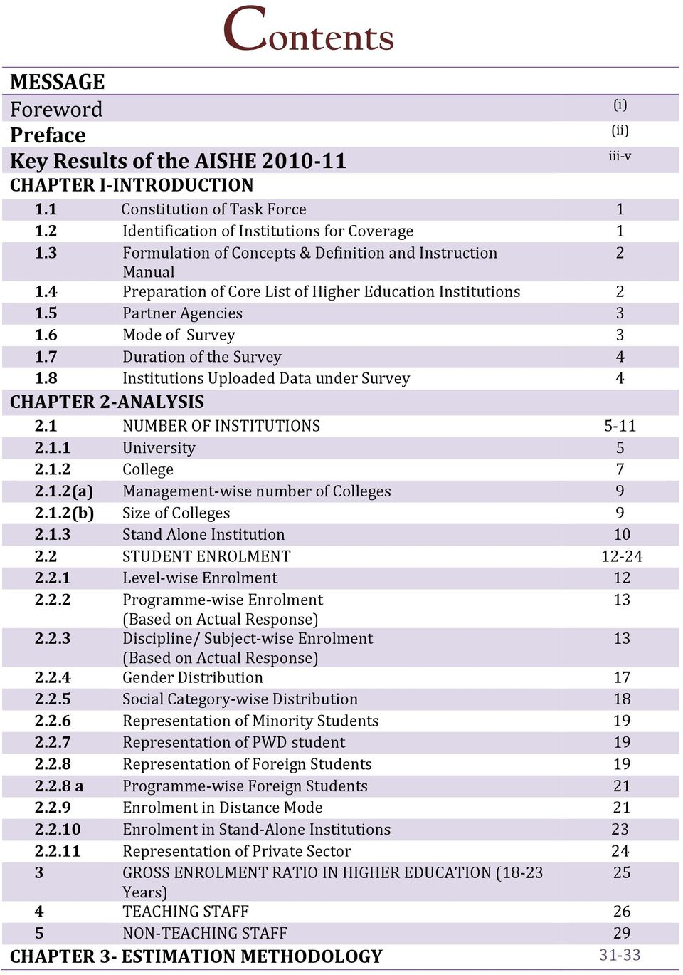 7 Duration of the Survey 4 1.8 Institutions Uploaded Data under Survey 4 CHAPTER 2 ANALYSIS 2.1 NUMBER OF INSTITUTIONS 5 11 2.1.1 University 5 2.1.2 College 7 2.1.2(a) Management wise number of Colleges 9 2.