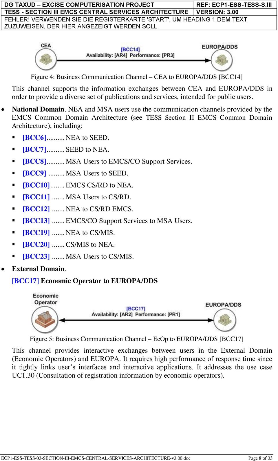 NEA and MSA users use the communication channels provided by the EMCS Common Domain Architecture (see TESS Section II EMCS Common Domain Architecture), including: [BCC6]... NEA to SEED. [BCC7].