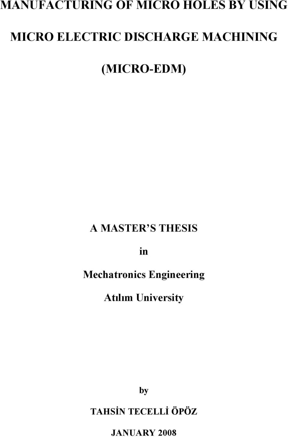 MASTER S THESIS in Mechatronics Engineering