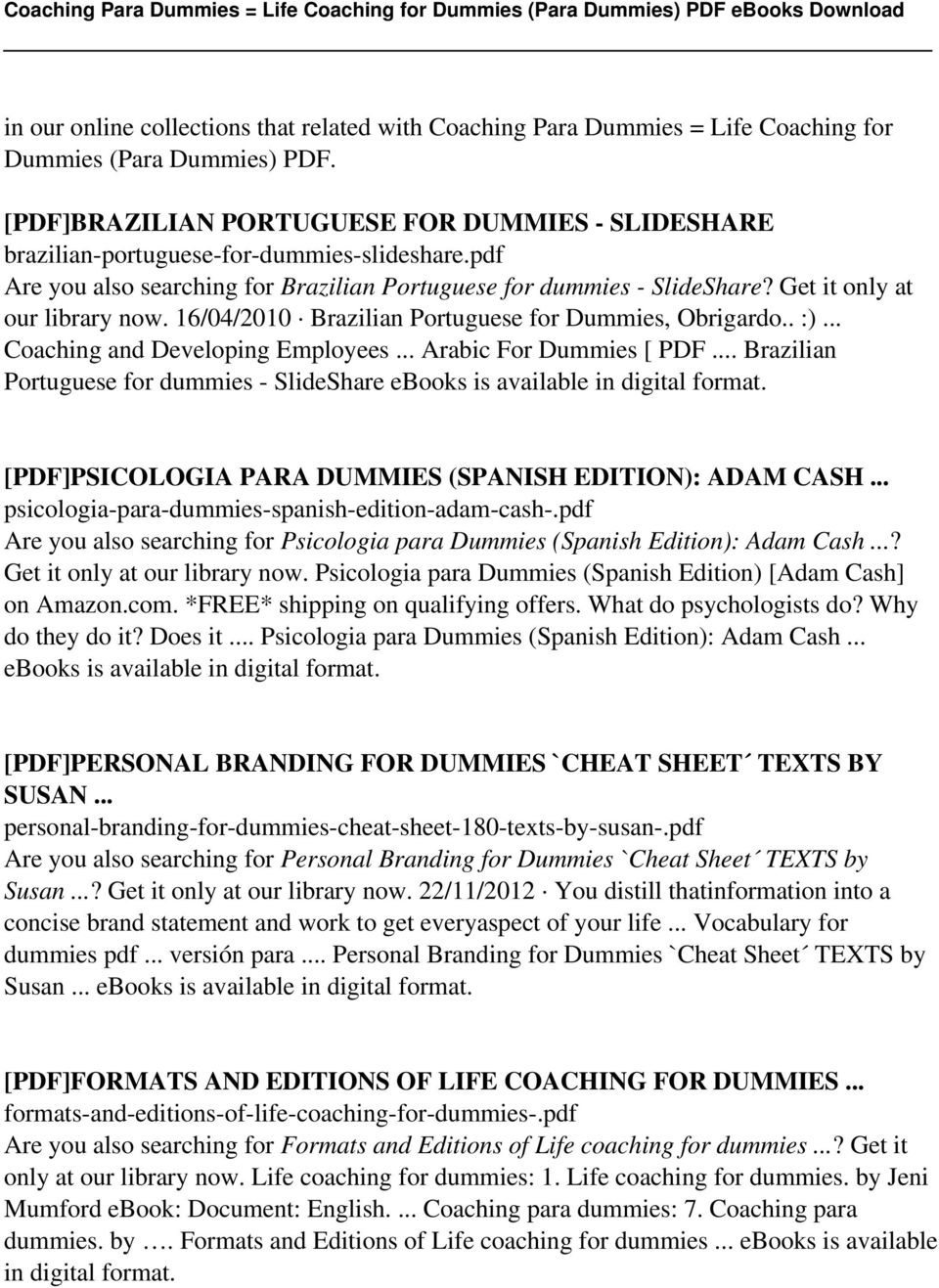 Coaching para dummies life coaching for dummies para dummies pdf get it only at our library now 16042010 brazilian portuguese for fandeluxe Image collections