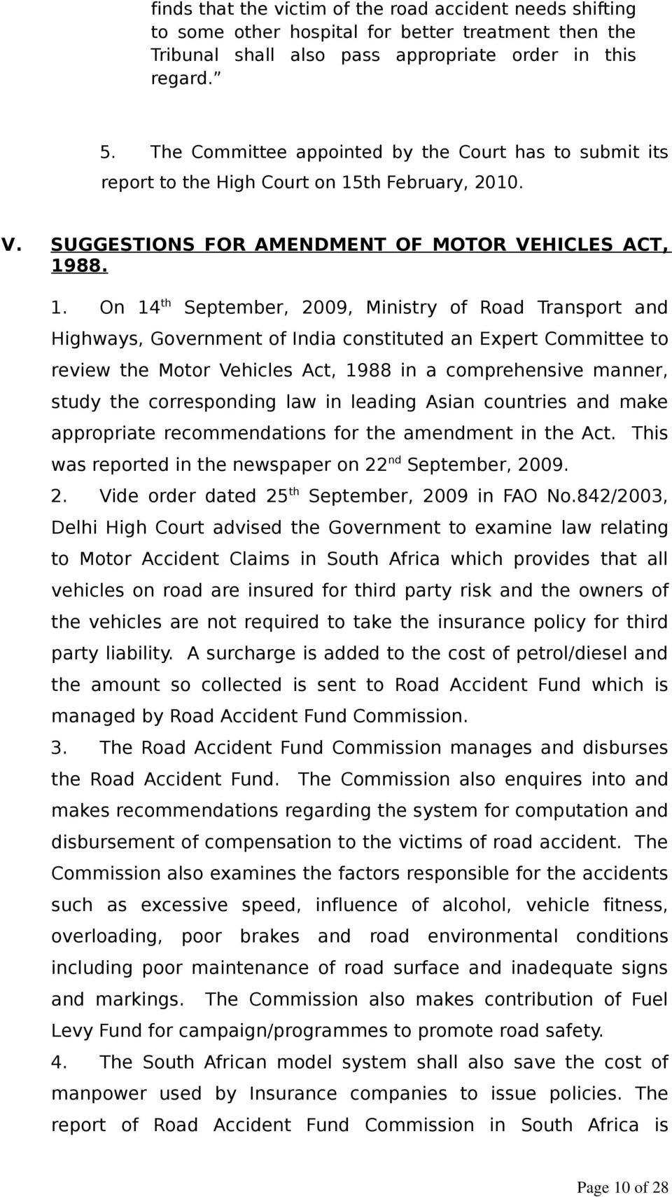th February, 2010. V. SUGGESTIONS FOR AMENDMENT OF MOTOR VEHICLES ACT, 19