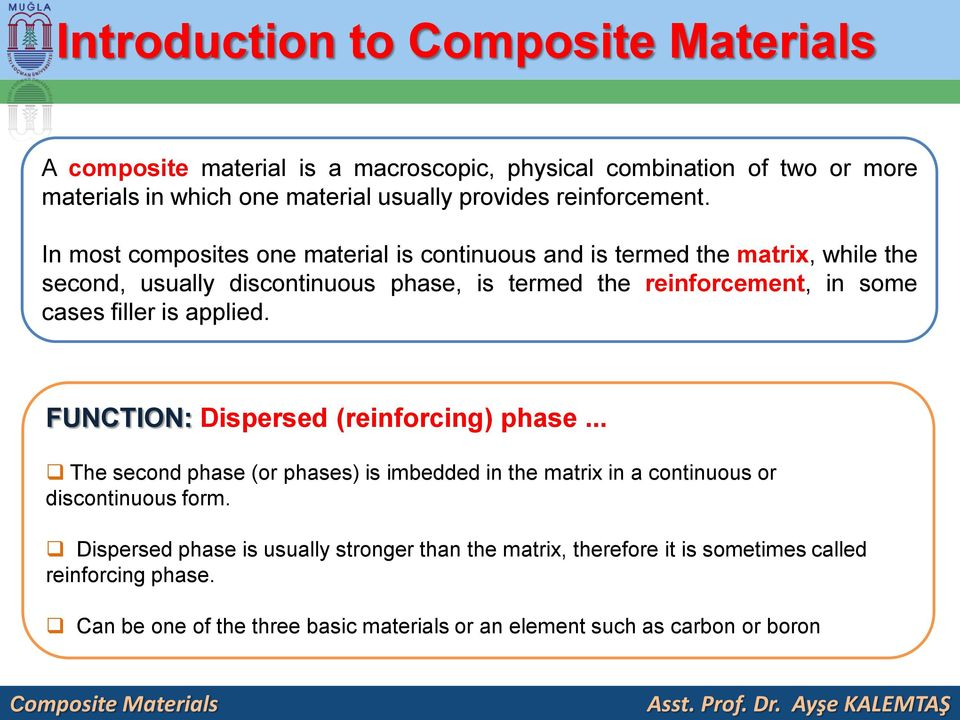 In most composites one material is continuous and is termed the matrix, while the second, usually discontinuous phase, is termed the reinforcement, in some cases filler