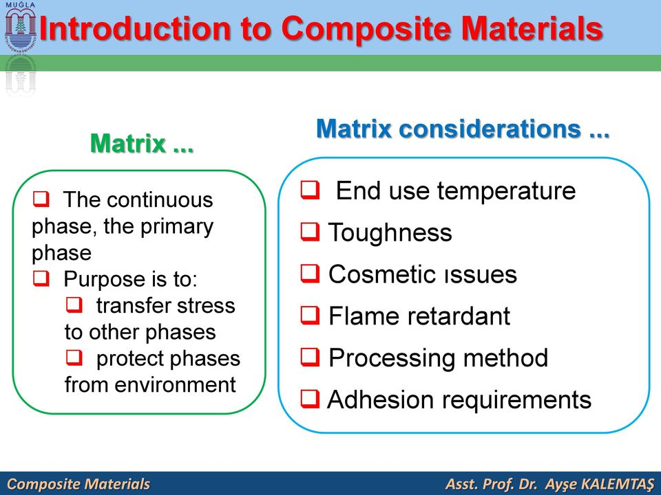 stress to other phases protect phases from environment Matrix