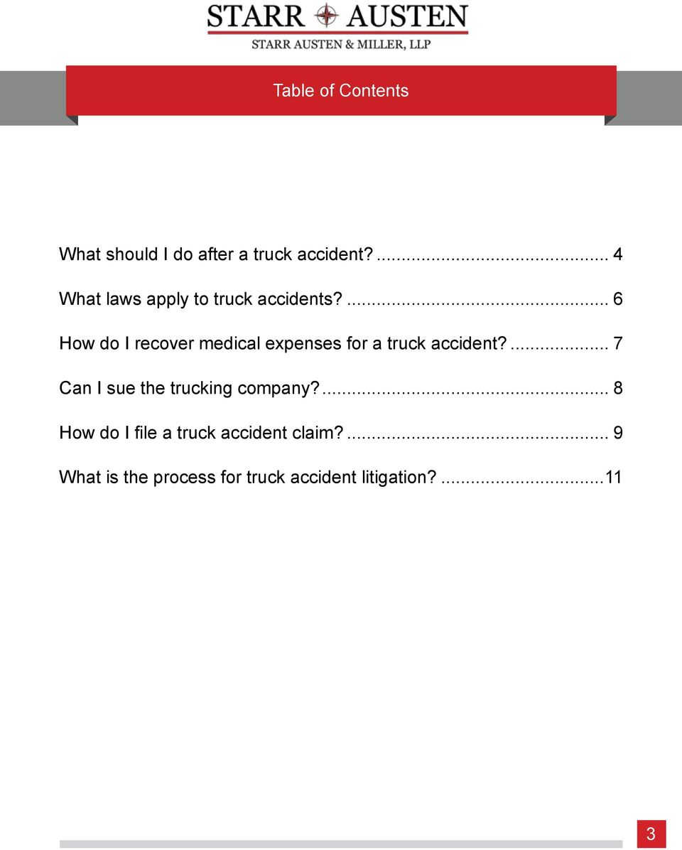 ... 6 How do I recover medical expenses for a truck accident?