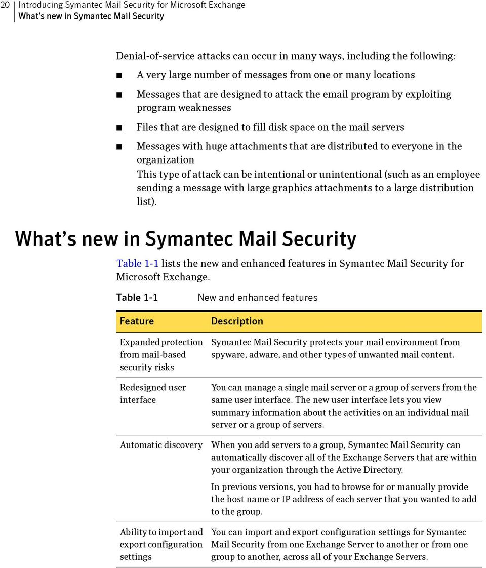 symantec mail security for microsoft exchange implementation guide huge attachments that are distributed to everyone in the organization this type of attack can