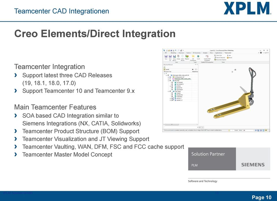 x Main Teamcenter Features SOA based CAD Integration similar to Siemens Integrations (NX, CATIA, Solidworks) Teamcenter