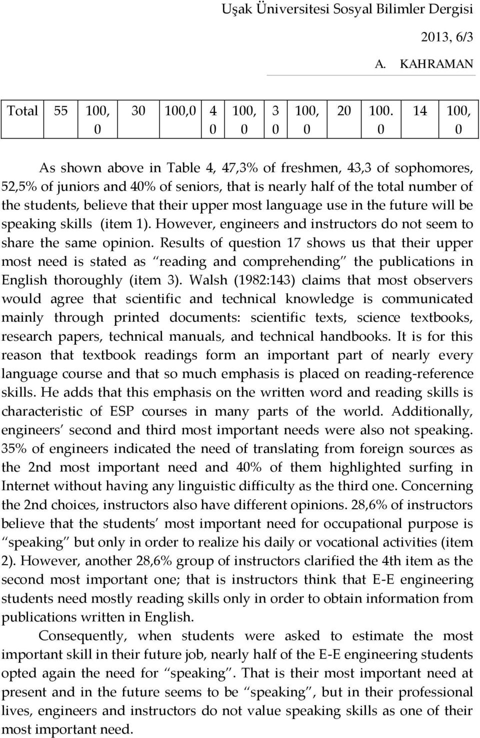 language use in the future will be speaking skills (item 1). However, engineers and instructors do not seem to share the same opinion.