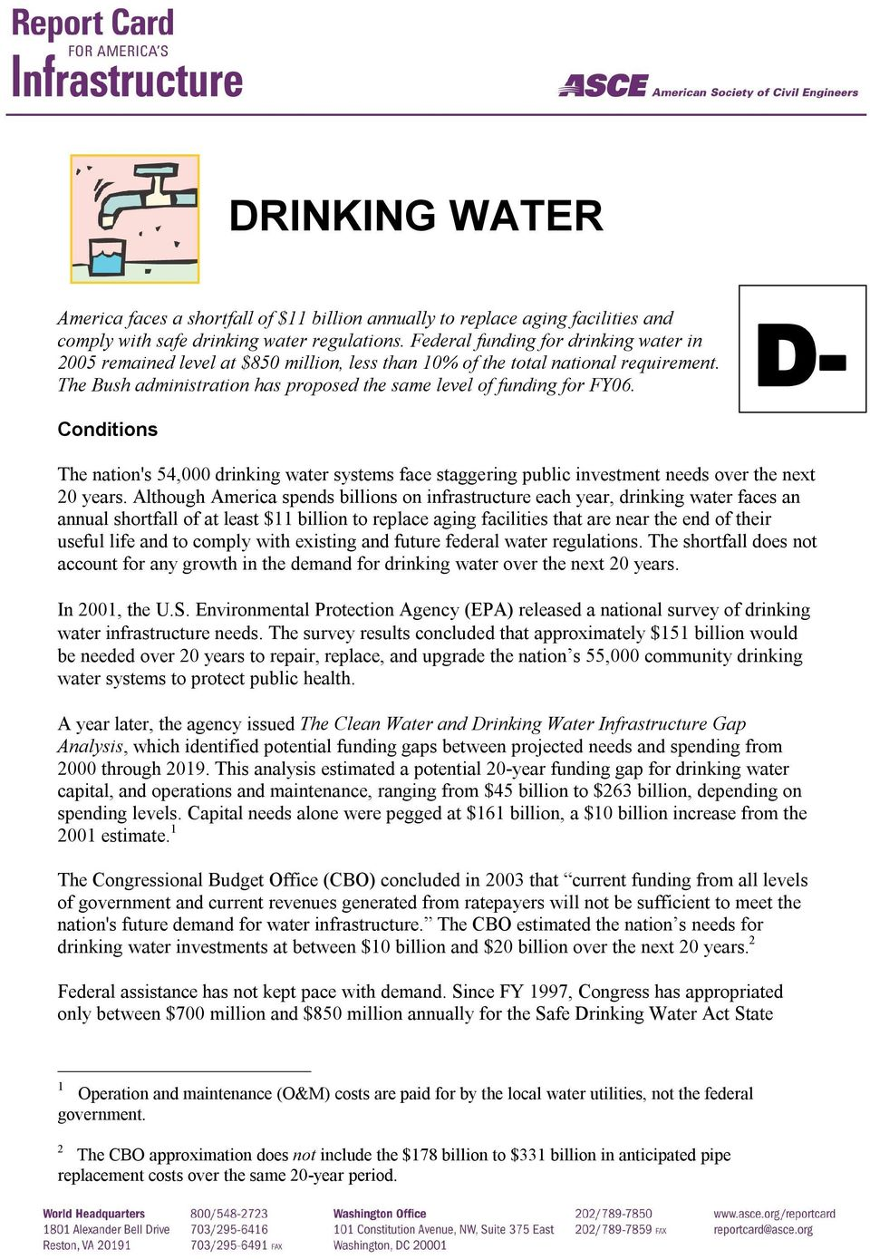 D Conditions The nation's 54,000 drinking water systems face staggering public investment needs over the next 20 years.