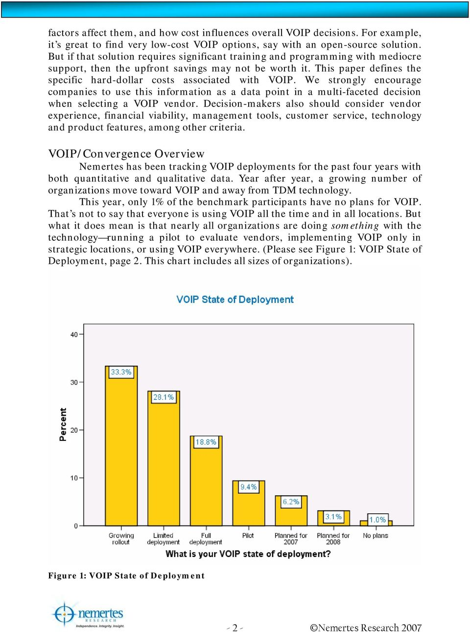 This paper defines the specific hard-dollar costs associated with VOIP.