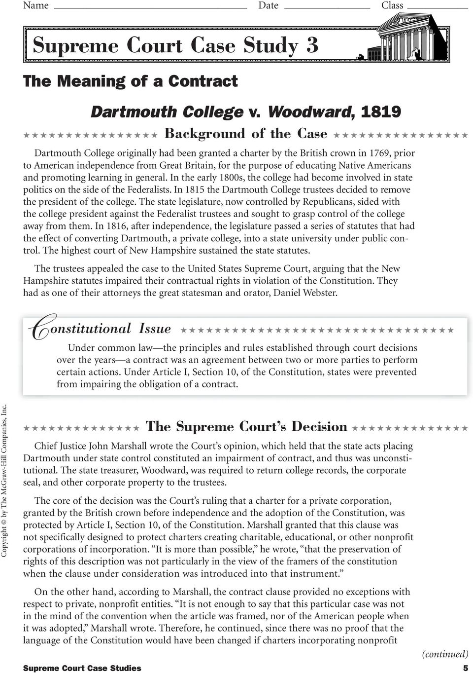 Landmark Supreme Court Cases Worksheet Worksheets