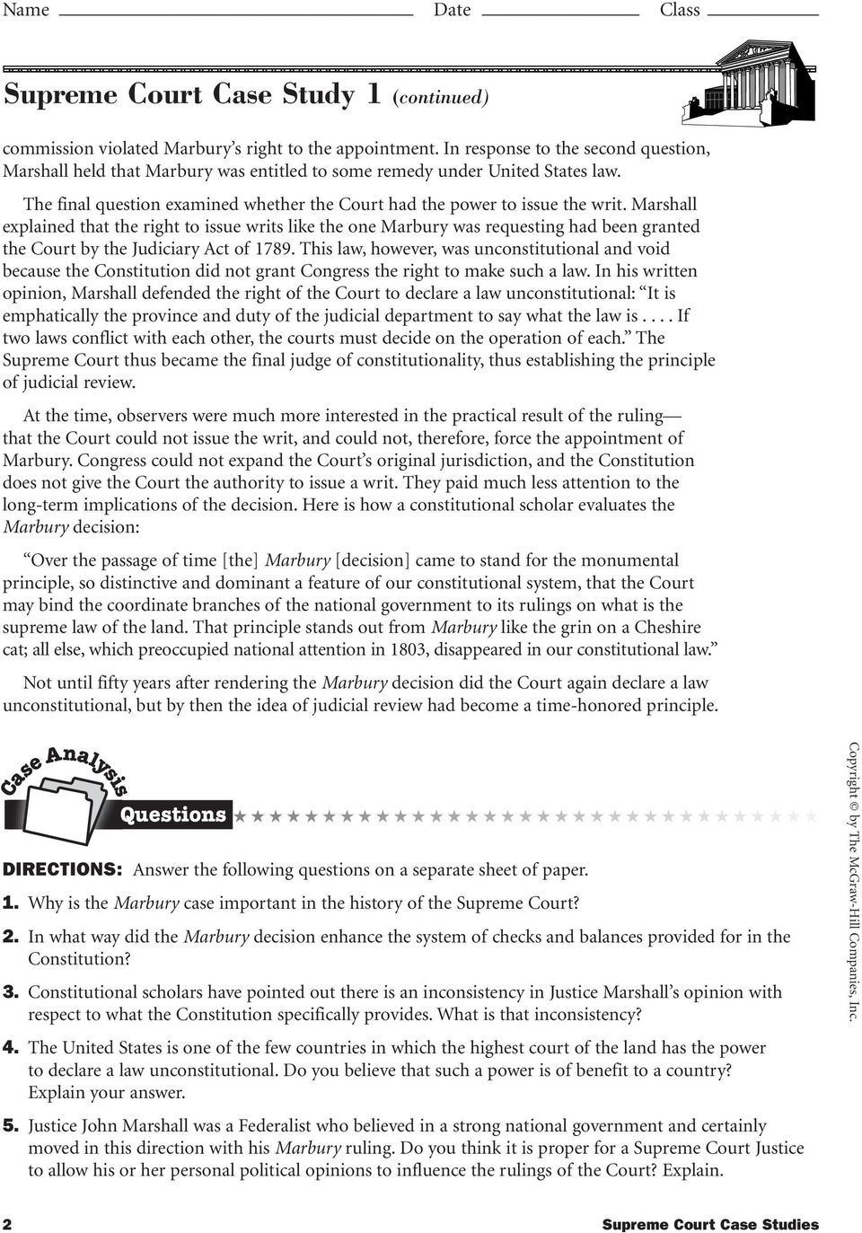 Supreme Court Case Studies Page  Supreme Court Case Studies