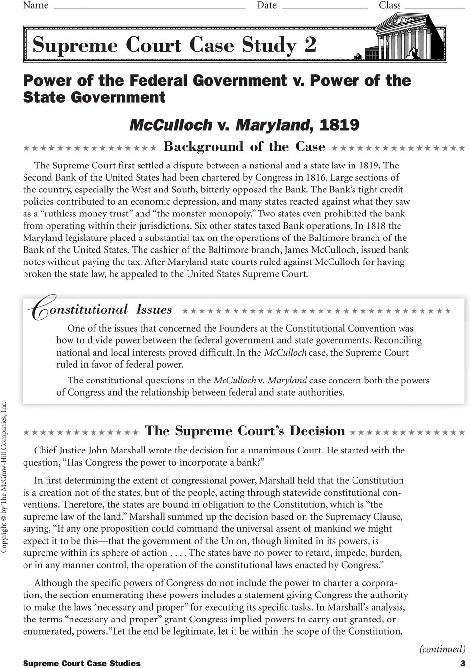 Supreme Court Case Analysis Worksheet Rringband – Constitutional Convention Worksheet