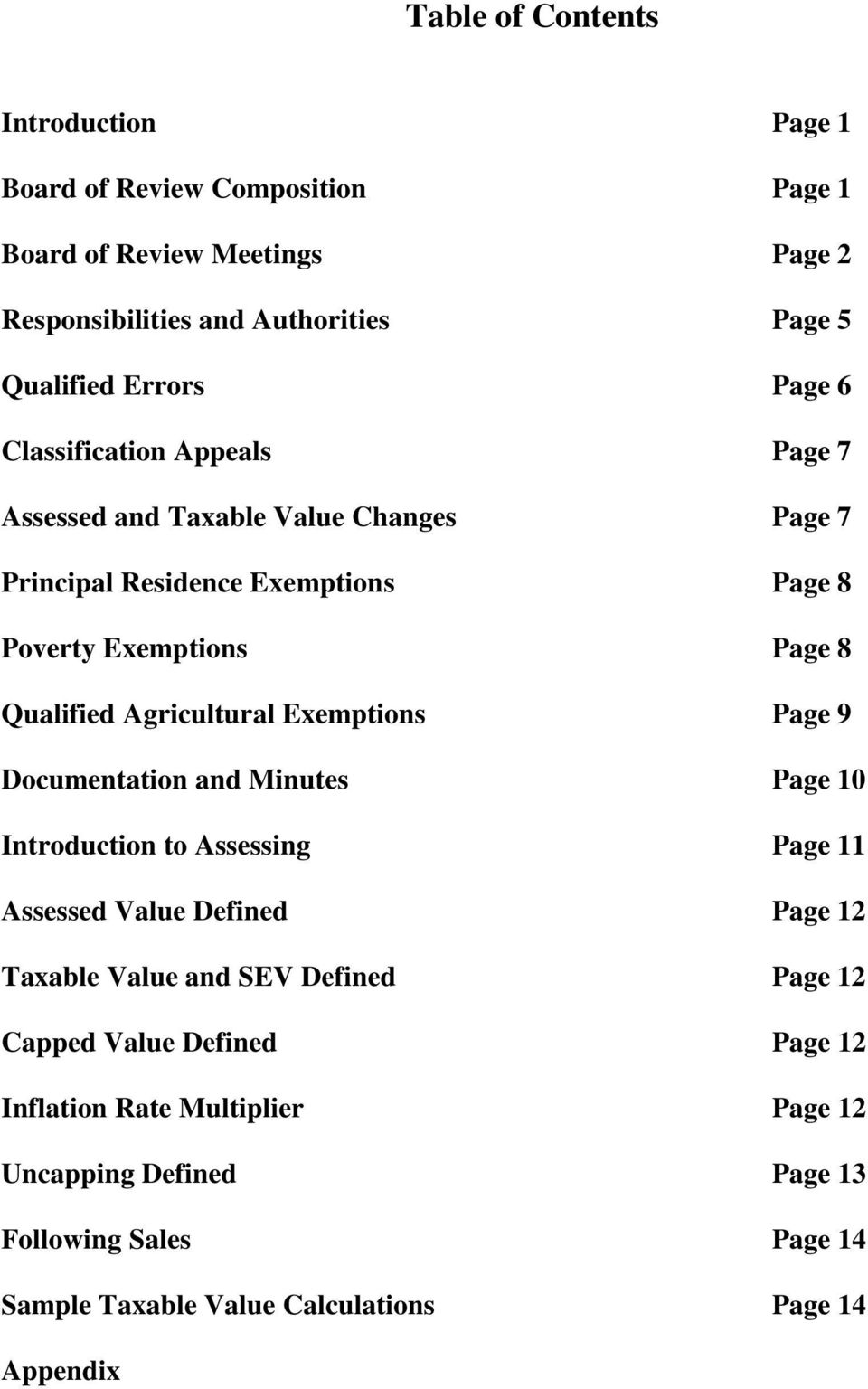Agricultural Exemptions Page 9 Documentation and Minutes Page 10 Introduction to Assessing Page 11 Assessed Value Defined Page 12 Taxable Value and SEV Defined