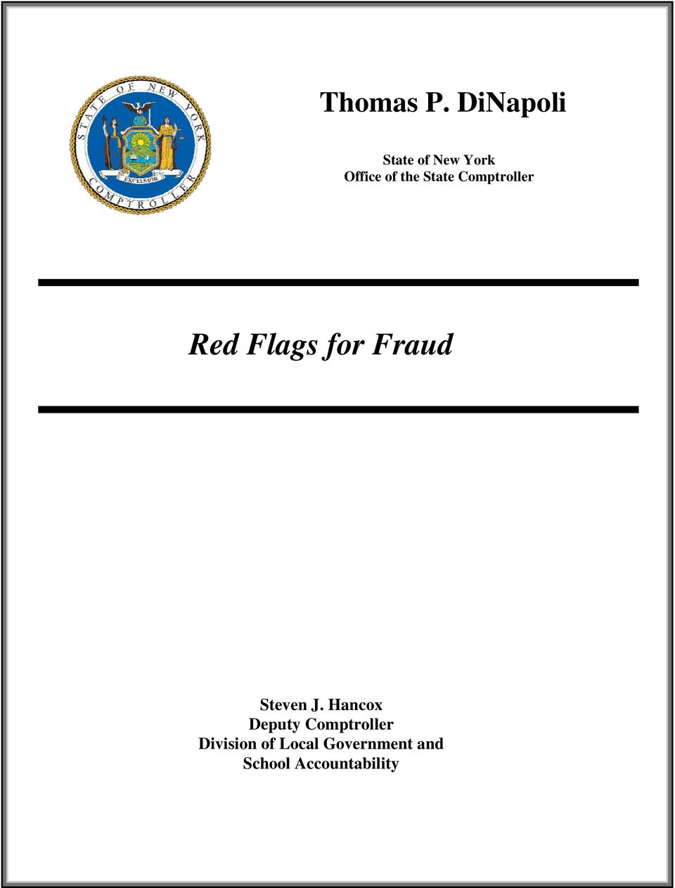 State Comptroller Red Flags for Fraud Steven