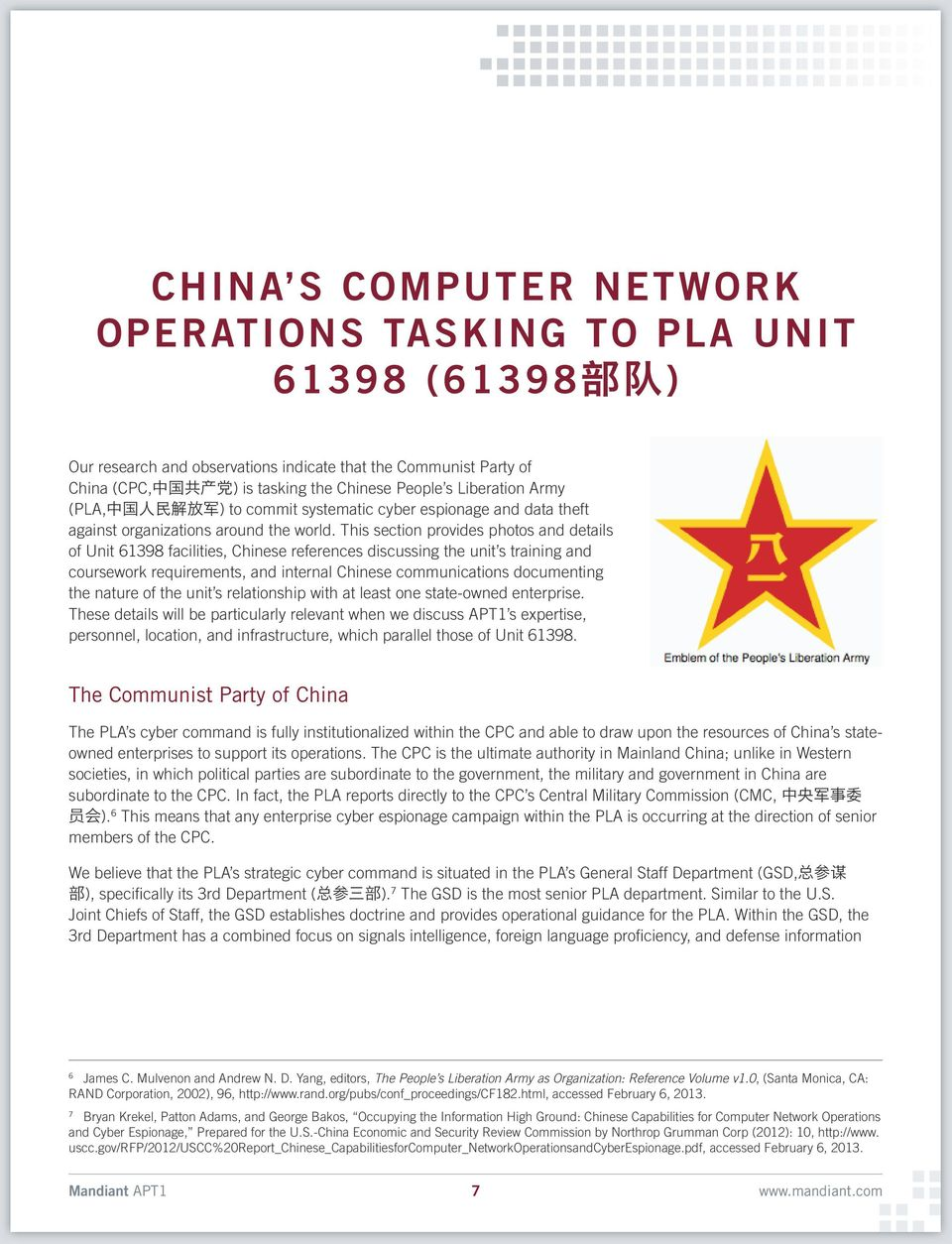 This section provides photos and details of Unit 61398 facilities, Chinese references discussing the unit s training and coursework requirements, and internal Chinese communications documenting the