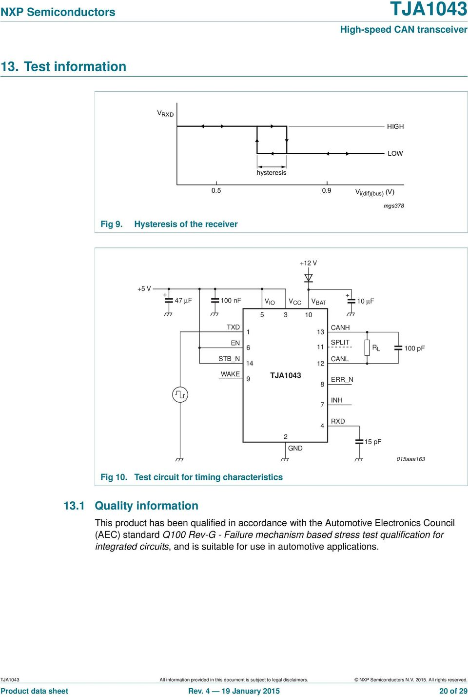 015aaa163 Fig 10. Test circuit for timing characteristics 13.